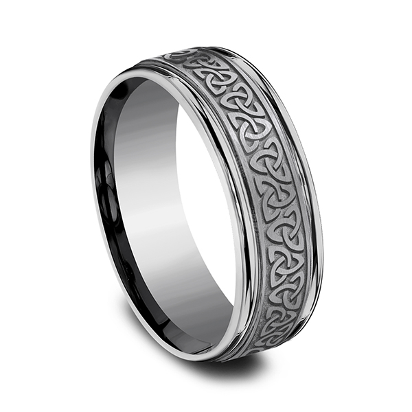 Tantalum Comfort-fit Design Wedding Band Image 2 Mitchell's Jewelry Norman, OK