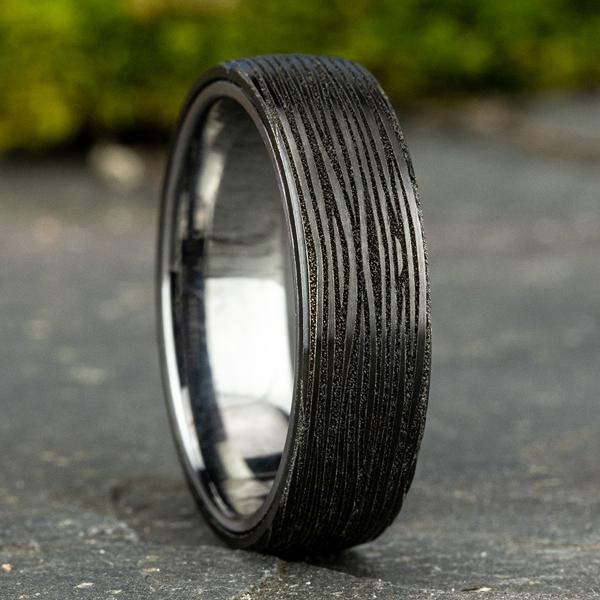 Grey Tantalum and Black Titanium ring in ring style Comfort-fit wedding band Image 4 Confer's Jewelers Bellefonte, PA