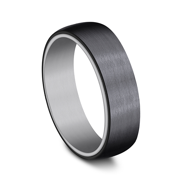 Grey Tantalum and Black Titanium ring in ring style Comfort-fit wedding band Image 2 Confer's Jewelers Bellefonte, PA