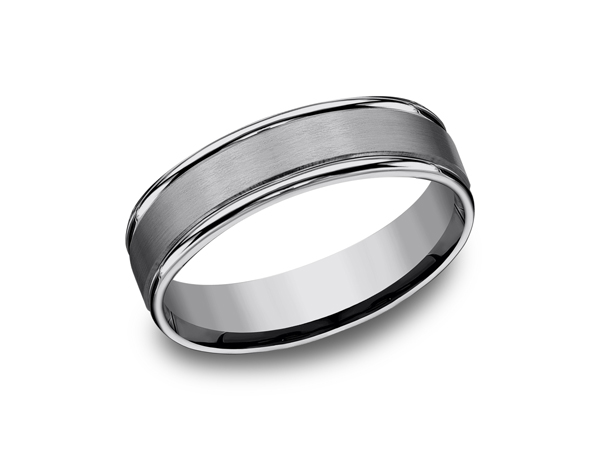 Wedding & Anniversary Bands - Tungsten Comfort-Fit Design Wedding Band