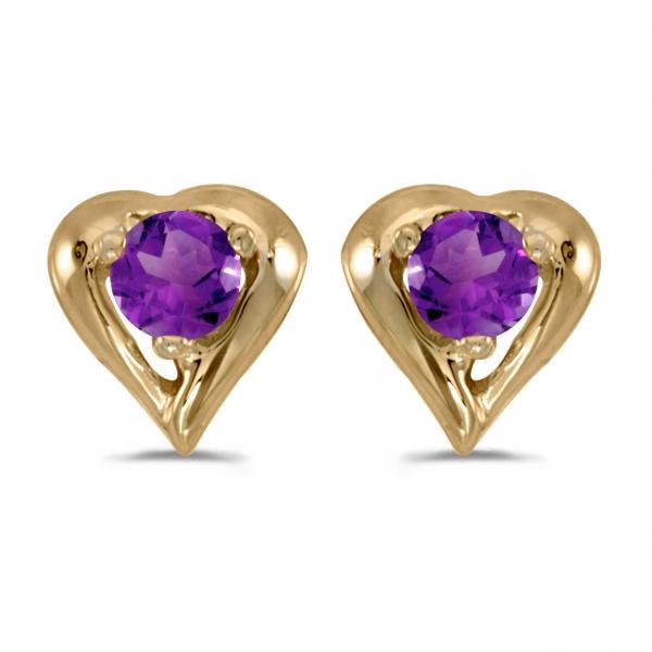10k White Gold Round Amethyst Heart Earrings