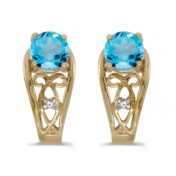 10k Yellow Gold Round Blue Topaz And Diamond Earrings