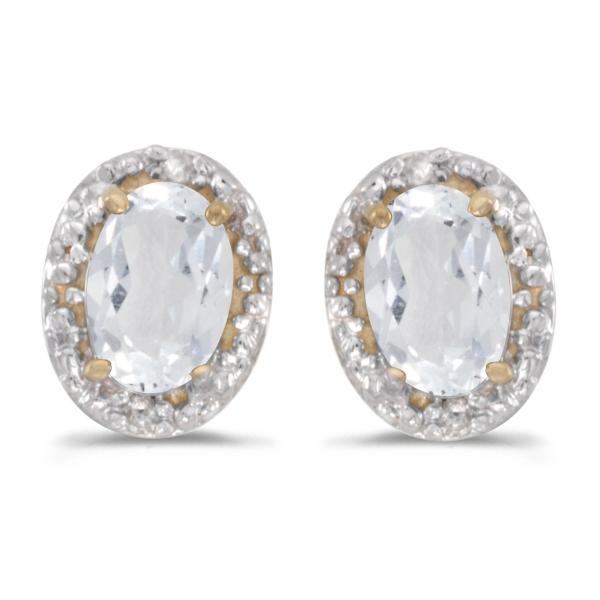 14k Yellow Gold Oval White Topaz And Diamond Earrings John Herold Jewelers Randolph Nj