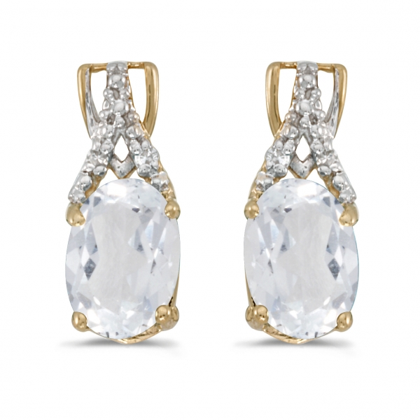 10k yellow gold oval white topaz and diamond earrings. Black Bedroom Furniture Sets. Home Design Ideas