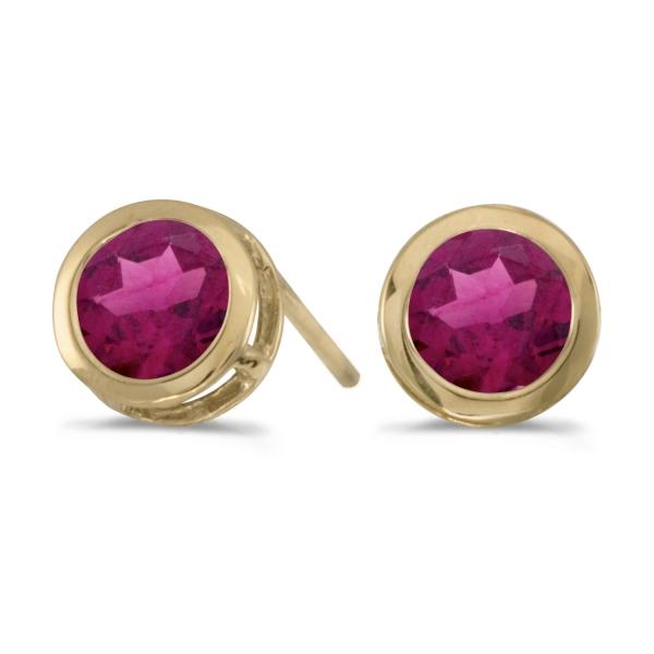 14k Yellow Gold Round Garnet Bezel Stud Earrings