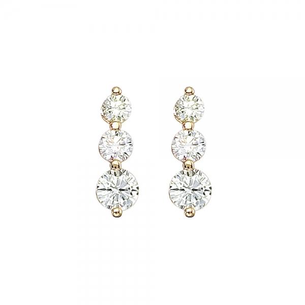 14k Yellow Gold 2 Ct 3 Stone Diamond Earring