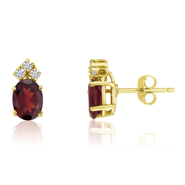14k Yellow Gold Oval Garnet Earrings With Diamonds