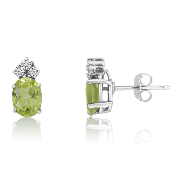 14k White Gold Oval Aquamarine Earrings With Diamonds