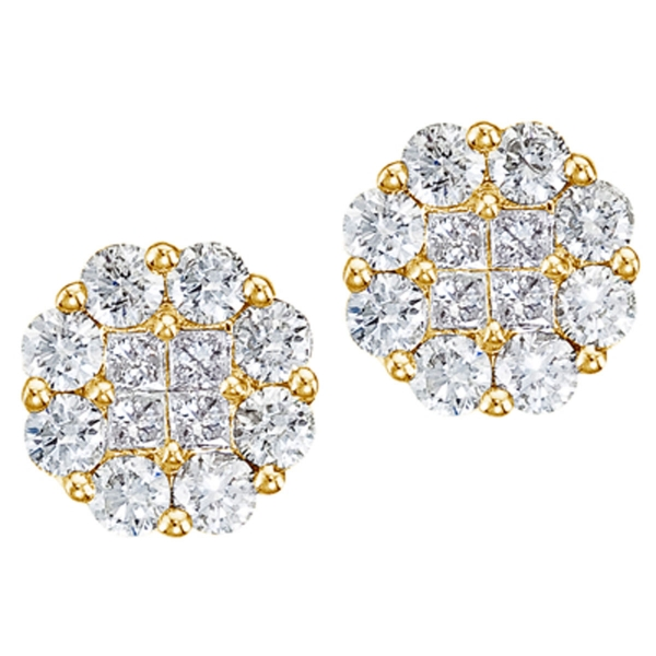 14K Yellow Gold 1.50 ct Diamond Clustaire Stud Earrings Atlanta West Jewelry Douglasville, GA