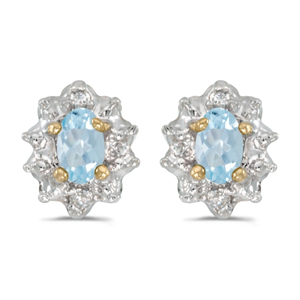 Fine Jewelry 14k Yellow Gold Oval Aquamarine And Diamond Earrings