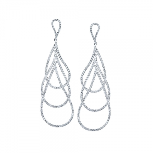 14k White Gold Triple Pear Shaped Dangle Diamond Earrings Atlanta West Jewelry Douglasville, GA