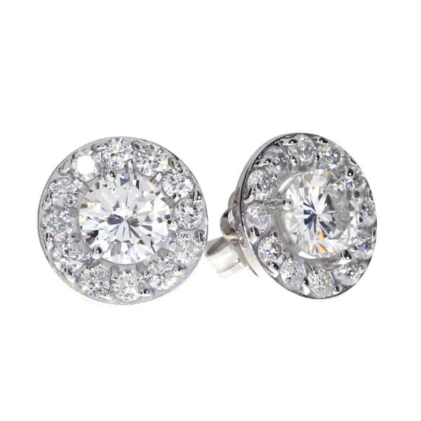 14K White Gold 1 02 ct Diamond Halo Stud Earrings