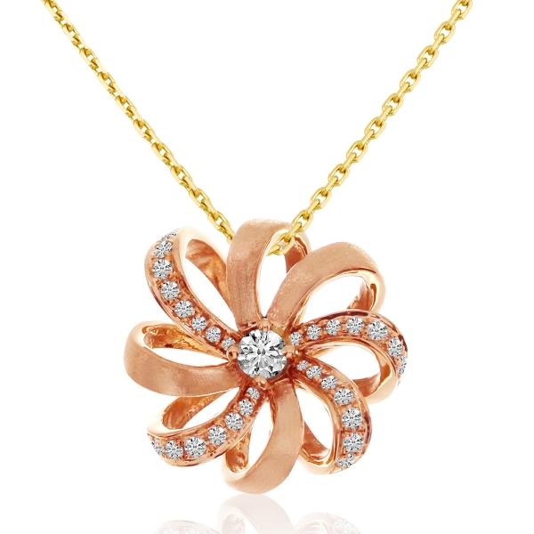 14k Rose Gold Flower Diamond Pendant