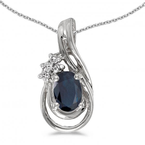 14k white gold oval sapphire and diamond teardrop pendant. Black Bedroom Furniture Sets. Home Design Ideas
