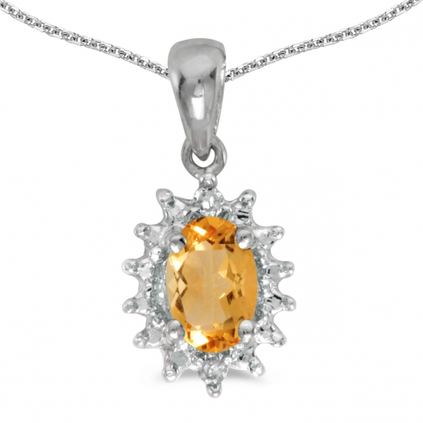 14k white gold oval citrine and diamond pendant p1342xw 11. Black Bedroom Furniture Sets. Home Design Ideas
