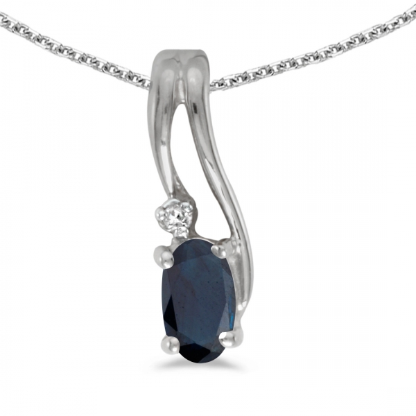 14k white gold oval sapphire and diamond wave pendant. Black Bedroom Furniture Sets. Home Design Ideas