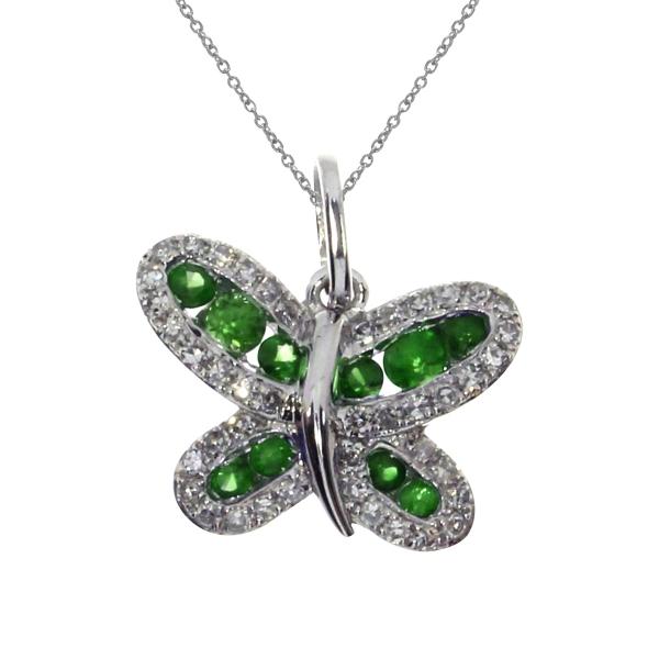 14k white gold emerald butterfly pendant p3568w 05 karen. Black Bedroom Furniture Sets. Home Design Ideas
