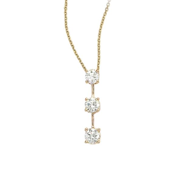 14k Yellow Gold 3 Stone Diamond Drop Pendant P7057 Windham Jewelers Windham Me