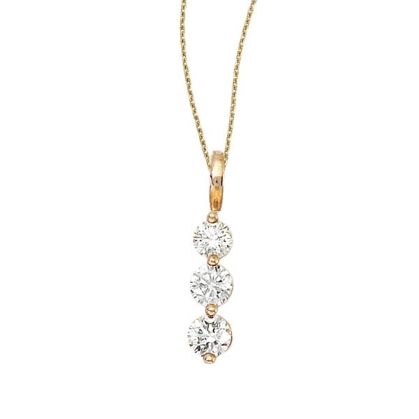 14k Yellow Gold 3 Stone Diamond Drop Pendant P7147 Windham Jewelers Windham Me