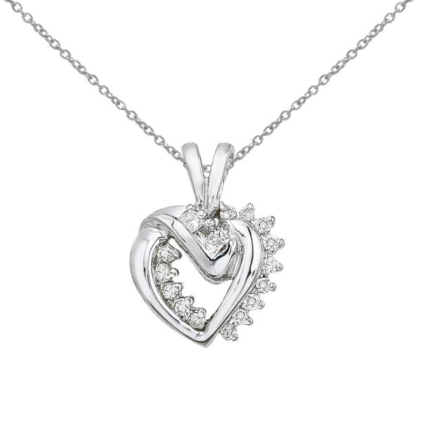 color merchants 14k white gold diamond heart pendant. Black Bedroom Furniture Sets. Home Design Ideas