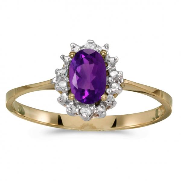 14Kt Gold Amethyst /& Diamond Oval Ring