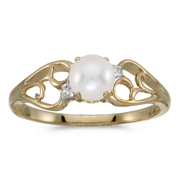 c91c3bbd6 10k Yellow Gold Freshwater Cultured Pearl And Diamond Ring MK Diamonds NYC  New York, NY