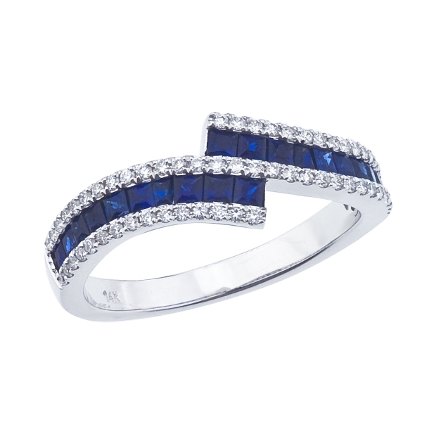 14k White Gold Sapphire and Diamond Bypass Ring by Color Merchants