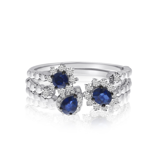 14k White Gold Stackable Sapphire And