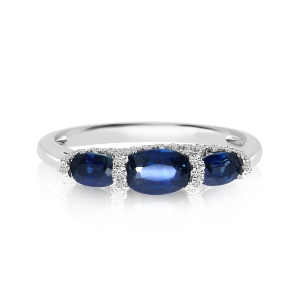 14k White Gold 3 Stone Oval Sapphire and Diamond Ring by Color Merchants