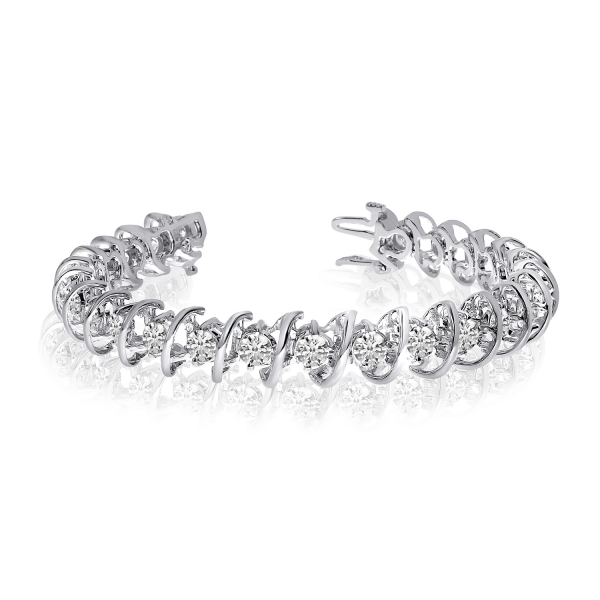 14k White Gold 8 Ct. Rollover Diamond Tennis Bracelet Atlanta West Jewelry Douglasville, GA