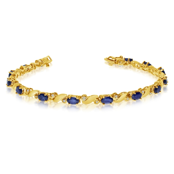 14k Yellow Gold Natural Sapphire And Diamond Tennis Bracelet by Color Merchants