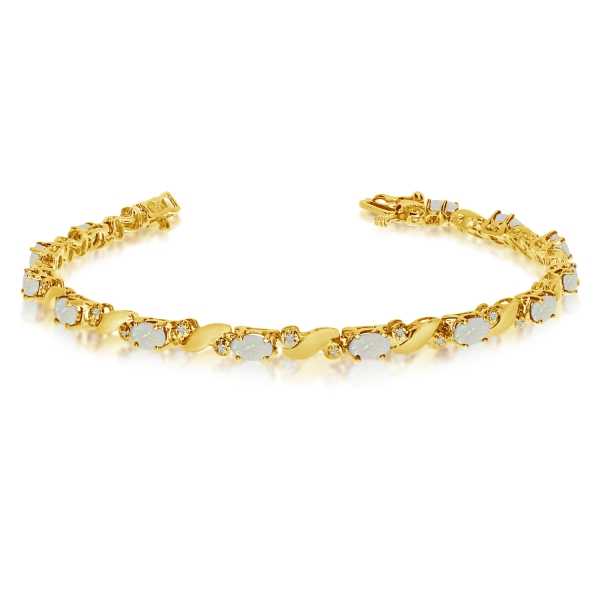 14k Yellow Gold Natural Opal And Diamond Tennis Bracelet by Color Merchants