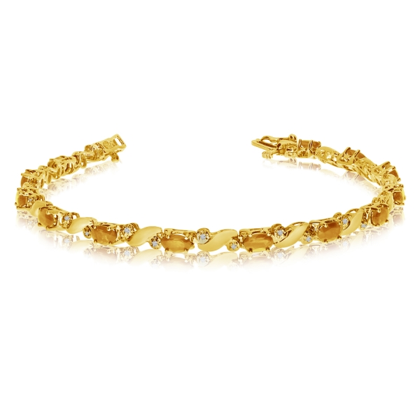 14k Yellow Gold Natural Citrine And Diamond Tennis Bracelet by Color Merchants