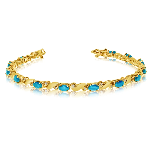 14k Yellow Gold Natural Blue-Topaz And Diamond Tennis Bracelet by Color Merchants