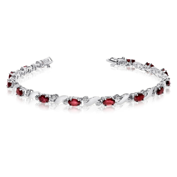 14k White Gold Natural Garnet And Diamond Tennis Bracelet by Color Merchants