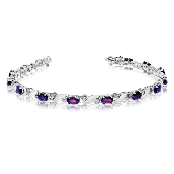 14k White Gold Natural Amethyst And Diamond Tennis Bracelet by Color Merchants