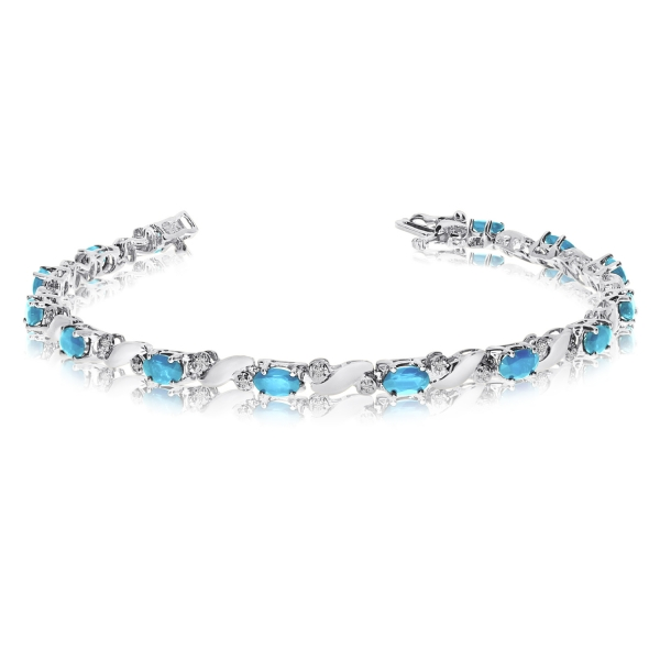 14k White Gold Natural Aquamarine And Diamond Tennis Bracelet by Color Merchants