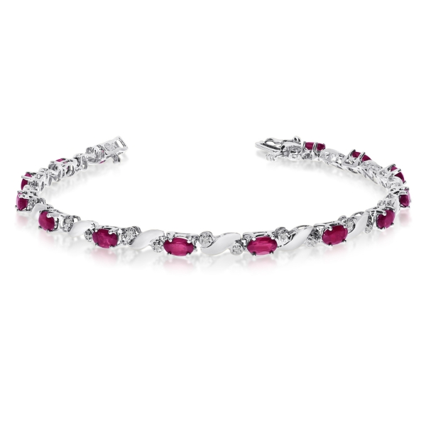 14k White Gold Natural Ruby And Diamond Tennis Bracelet by Color Merchants