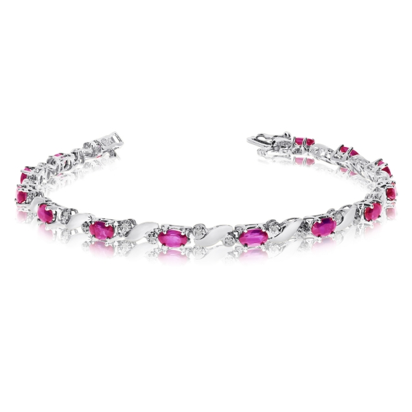 14k White Gold Natural Pink-Topaz And Diamond Tennis Bracelet by Color Merchants