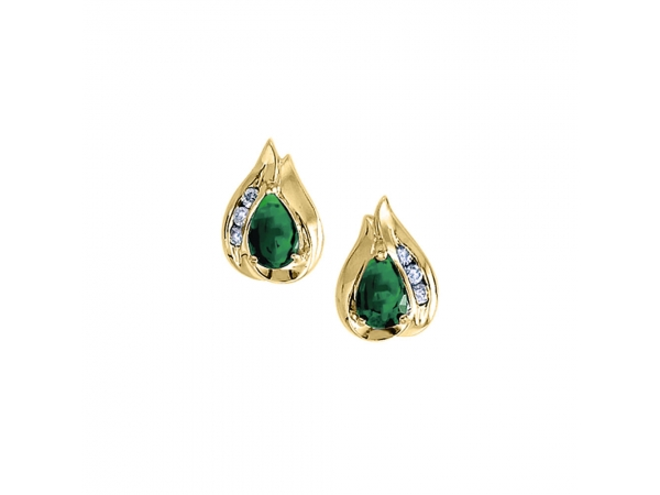14k Yellow Gold Pear Emerald And Diamond Earrings - Stunning 14k yellow gold earrings with pear-shaped natural emeralds and .10 carats of glistening diamonds.