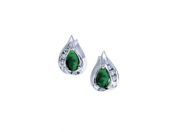 14k White Gold Pear Emerald And Diamond Earrings - Stunning 14k white gold earrings with pear-shaped natural emeralds and .10 carats of glistening diamonds.