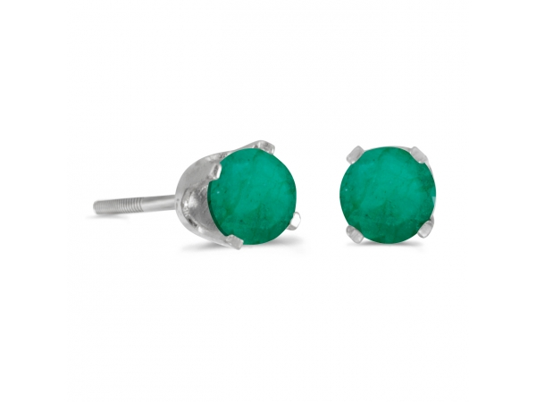 4 mm Round Emerald Screw-back Stud Earrings in 14k White Gold - 14k white gold screw-back stud earrings with 4 mm natural emeralds.