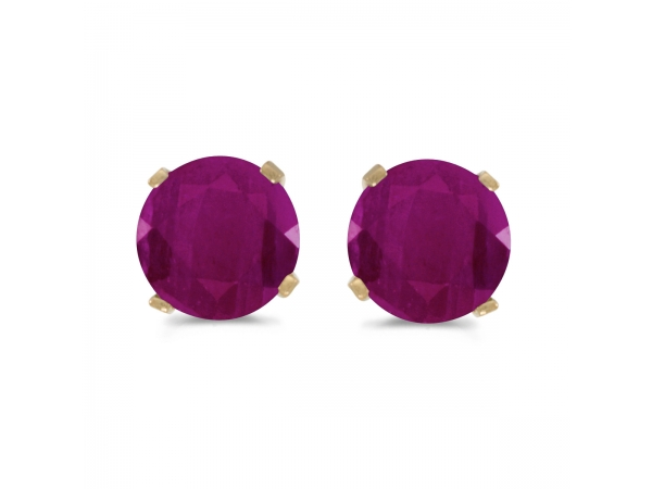 5 mm Natural Round Ruby Stud Earrings Set in 14k Yellow Gold by Color Merchants