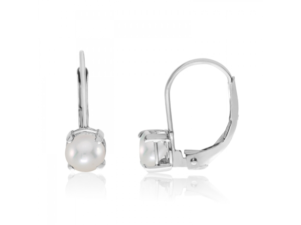 14k White Gold 5mm Freshwater Cultured Pearl Leverback Earrings by Color Merchants