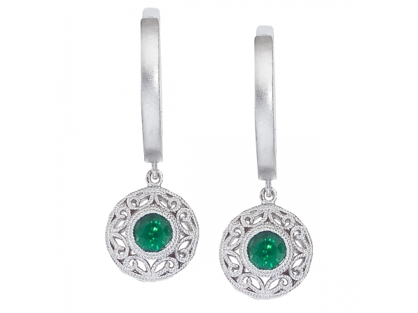 14k White Gold Emerald Filigree Huggy Earrings - 4 mm genuine emeralds set in 14k white gold elegently dangle from a huggy style earring.