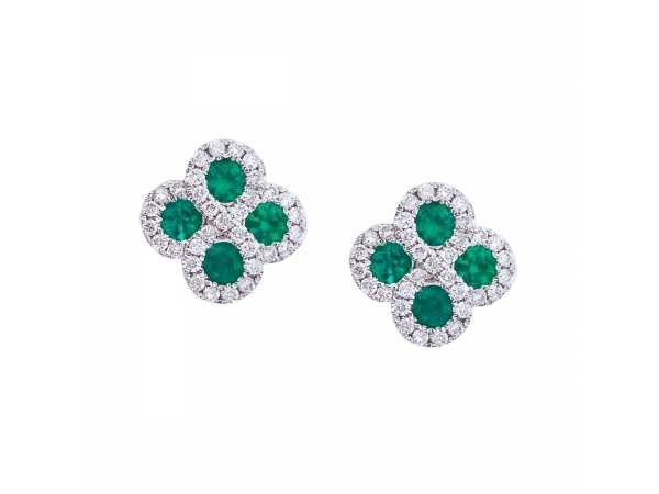14k White Gold Emerald and .26 ct Diamond Clover Earrings - Beautiful clover shaped earrings with 2.7 mm emeralds surrounded by gleaming diamonds.