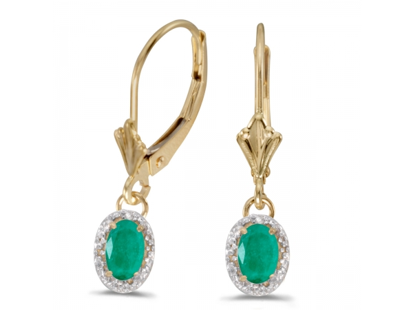 10k Yellow Gold Oval Emerald And Diamond Leverback Earrings - Beautiful 10k yellow gold leverback earrings with regal 6x4 mm emeralds complemented with bright diamonds.