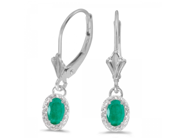 10k White Gold Oval Emerald And Diamond Leverback Earrings - Beautiful 10k white gold leverback earrings with regal 6x4 mm emeralds complemented with bright diamonds.