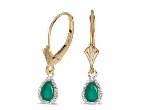 10k Yellow Gold Pear Emerald And Diamond Leverback Earrings - 6x4 mm pear emeralds dangle in 10k yellow gold with shimmering diamond accents.