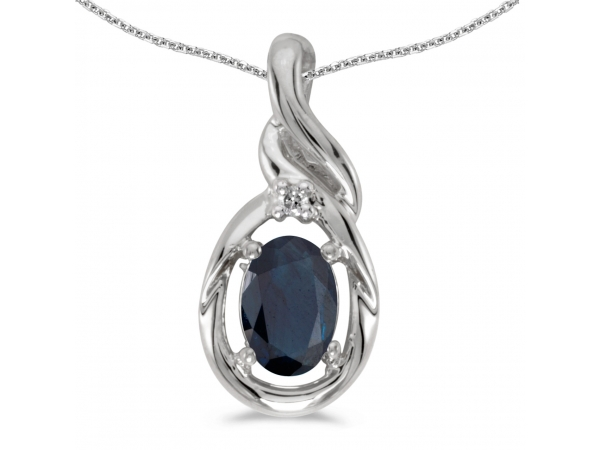 10k White Gold Oval Sapphire And Diamond Pendant by Color Merchants